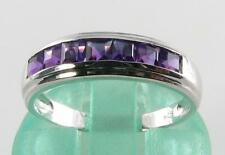LUSH 9K 9CT WHITE GOLD AFRICAN AMETHYST CHANNEL ETERNITY ART DECO INS RING