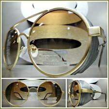 New VINTAGE RETRO 60s STEAMPUNK CYBER Round Blinder SUN GLASSES Matte Gold Frame
