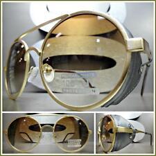 New VINTAGE RETRO 60s STEAMPUNK CYBER Round Blinder SUN GLASSES Matte Gold Frame