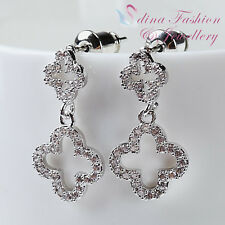 18K White Gold Plated Simulated Diamond Studded Delicate Double Flower Earrings