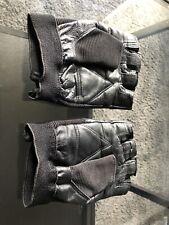 Black Faux Leather Fingerless Gloves Medium  Mens