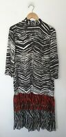ZARA SATIN ZEBRA PRINT LONG TIERED SMOCK DRESS SIZE M