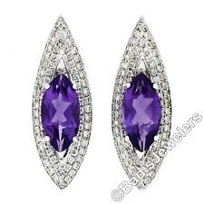 Custom 18k White Gold 3.50ctw Marquise Amethyst & Diamond Large Stud Earrings