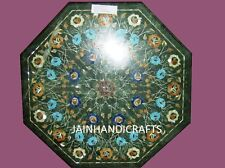 "30"" GREEN  COFFEE DINING CORNER CENTER MALACHITE TABLE TOP MOSAIC INLAY  ZQ17"