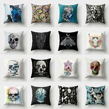 Art Skull Cushion 18'' Cover Throw Pillow Polyester Sofa Home Case Decor Waist