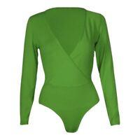 New Womens Plus Size Plunge Neck Wrap Over Long sleeve Bodysuit Leotard Tops8-26