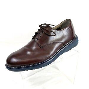 Clarks Tor England Mens Oxfords Burgundy Leather Plain Toe Size 9.5 M