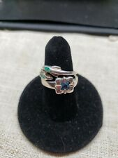 Sterling Silver Dainty Rings 2 of them Size 7.5 dolphins & blue topaz FREE SHIP!