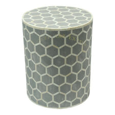 Handmade Bone Inlay Honeycomb Design Wooden Gray Round Side Table Stool