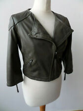 Firetrap Ladies Taupe/Olive Leather Jacket/Coat Size Small 8/10 BNWT