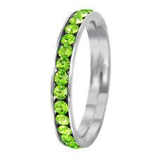 Stainless Steel Eternity Peridot Crystal August Birthstone Stackable Ring 3MM