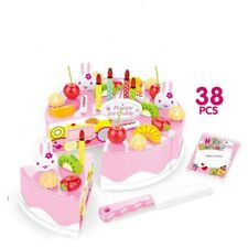 38pcs/Lot Birthday Cake Fine Pretend Play For Kids Kitchen Play Food Toy Pink