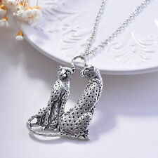 Retro Double Couple Leopard Animal Love Tibetan Pendant Long Necklace Silver