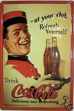 Coca Cola At Your Club Blechschild Schild Blech Metall Metal Tin Sign 20 x 30 cm