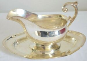 Vintage Silver Plated Gravy Boat Attached  Oval Under Tray