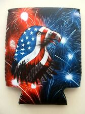 2 NEW AMERICAN FLAG EAGLE WITH FIREWORKS DESIGN CAN KOOZIE FISHING BUD BEER