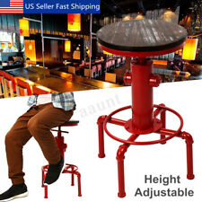 Industrial Vintage Kitchen Swivel Pub Bar Cafe Stool Adjustable Wood Iron Chair