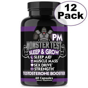 Men's Testosterone Booster Monster Test PM, Sleep Aid Pill - 60 Count - 12 Pack