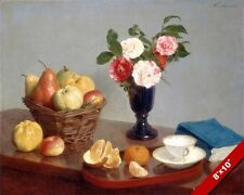 STILL LIFE FLOWERS FRUIT ON A TABLE PAINTING FRENCH ART REAL CANVAS GICLEEPRINT