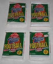 Four (4) 1990 FLEER FOOTBALL Packs - Barry Sanders, Marino, Montana, Elway +++