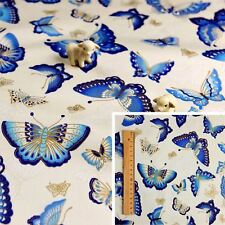 JAPANESE BLUE WHITE GOLD Meter/Squares Cotton Fabric Oriental Kimono Butterfly