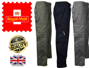 New Men's Cotton Lightweight Cargo Combat Elasticated Zip Trousers Pants M-3XL