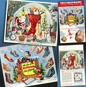 Bel Vecchio Pubblicità Calendario Avvento 1957 Disney Micky Mouse Donald Babbo