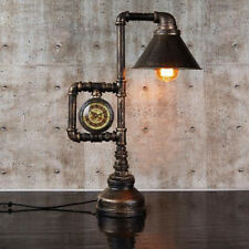 Vintage Industrial Pipe Table Light Shade Edison Desk Accent Lamp With  Clock Bar