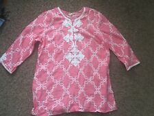 CHARTER CLUB  luxury embroidered neck Linen  pink Tunic Top 3/4 Sleeve Top