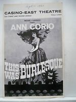 THIS WAS BURLESQUE Playbill ANN CORIO / STEVE MILLS NYC Second Year 1963