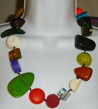 "Sobral Aventuras Indiana Chunky Multi Color Statement 26"" Necklace Brazil Import"