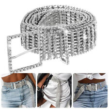 Fashion Women Crystal Diamond Waist Belt Wide Chain Full Rhinestone Waistband US
