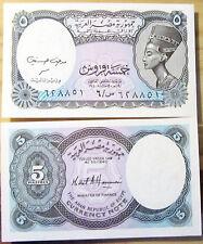 """BILLETE """"   EGIPTO  """"  5    PIASTRAS      AÑO  2001    UNC    PLANCHA"""