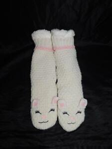 Jane and Bleecker White Pink Lamb Slipper Socks Fleece Lined Warm Winter Lounge