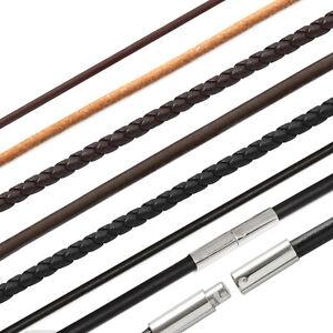 Halskette Leder geflochten Gummi Edelstahl  Drehverschluß Herren Damen 1,5mm-4mm