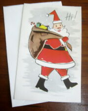 Vtg 1950s Volland Santa w/ sack Christmas card unused