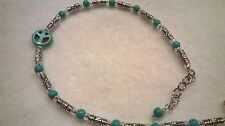 Tibetan silver ankle bracelet, anklet Genuine blue turquoise beads, peace sign