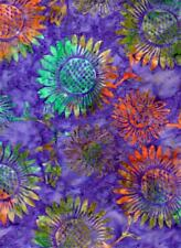Sunflowers Tossed on Purple B/G-Batik Textiles-Batik Print-BTY