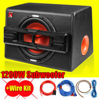 """12"""" Inch 1200W Active Powered Car Subwoofer Audio Sub Box Enclosure+Wire Kit UK"""