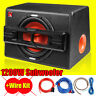 "12"" Inch 1200W Active Powered Car Subwoofer Audio Sub Box Enclosure+Wire Kit UK"