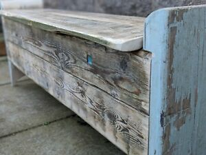 Unique Vintage Hall Bench, Storage / Poacher's bench - with blue window