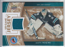 2013-14 UPPER DECK ANTTI NIEMI UD GAME JERSEY HALL FAME HHOF-AN GAME USED Sharks