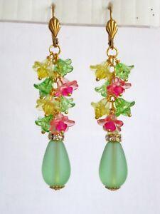 Beach Glass Earrings Flower Dangles Sea Green Teardrop w  Lucite Crystal Centers