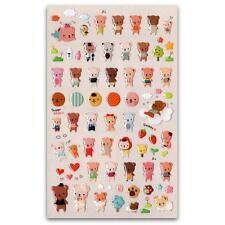 CUTE TEDDY BEAR GEL STICKERS Sheet Animal Craft Kids Scrapbook Sticker Bebe