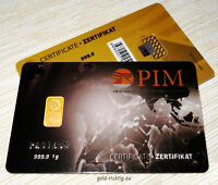 1 Gramm Goldbarren PIM Scheckkarte NADIR LBMA 1g Gold Barren Geschenk NEU+OVP