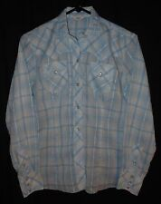 Vtg Women's Western Blouse Plaid Pearl Snap Cowgirl Rockabilly Size 32