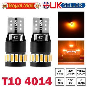 2X T10 LED Car Bulbs 21 SMD Xenon W5W 501 Side Light Error Free Canbus Amber 12V