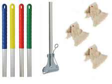 More details for kentucky metal mop handle with metal clip and 3 mop heads handle colour options