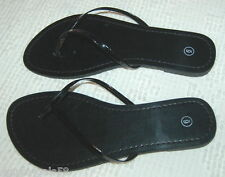0623b9d4702 Womens GLOSSY BLACK Thong SUMMER Flats Sandals Shoes Size 6