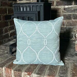 1016. Handmade Roscoe Duck egg Blue Jacquard Cushion Cover Various sizes